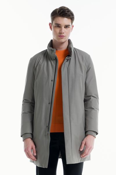 [남성] 울혼방 솔리드 스탠드칼라 구스다운 코트