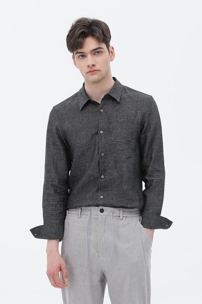 [남성] 린넨 솔리드 긴소매 셔츠