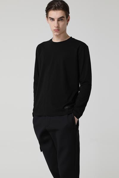 [남성] 코튼 레귤러핏 자카드 로고 티셔츠