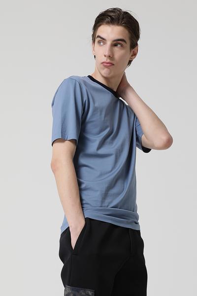 [남성] 코튼 엠브로이드 로고 콘트라스트 카라 반소매 티셔츠