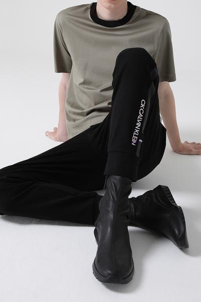 [남성] 면혼방 스트레이트핏 사이드 그래픽 밴딩 조거 팬츠