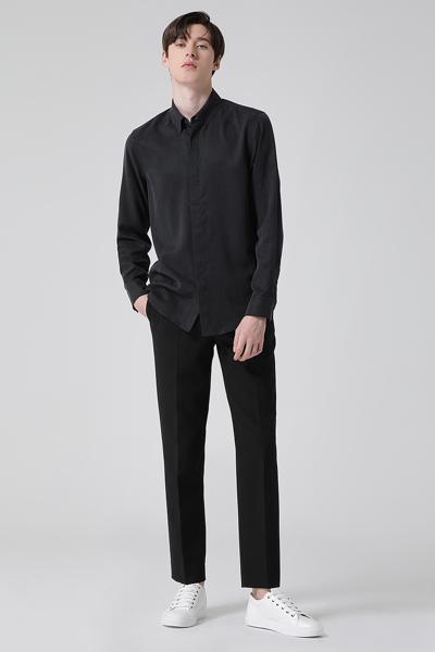 [남성] 면혼방 박시핏 솔리드 텐셀 셔츠