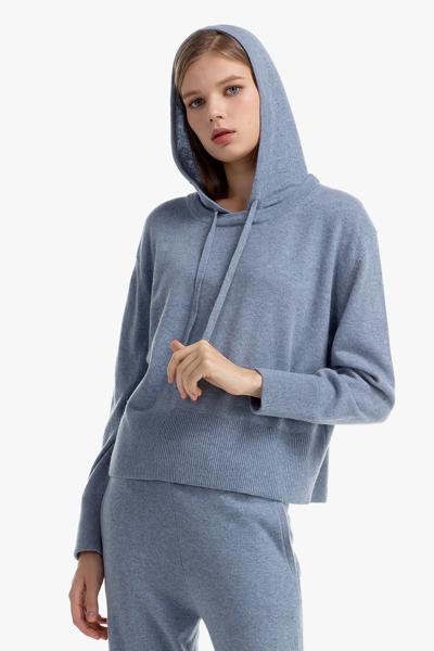 [여성] 캐시미어혼방 멜란지 긴소매 후드 스웨터