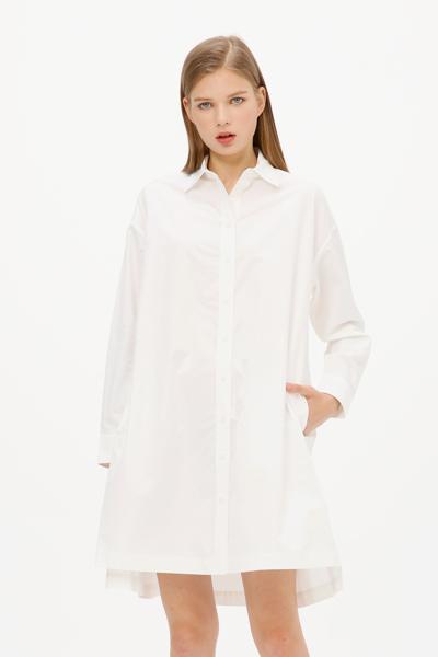 [여성] 코튼 오버사이즈핏 솔리드 셔츠 원피스