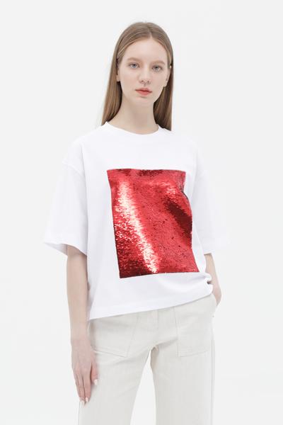 면 스팽글 반소매 티셔츠