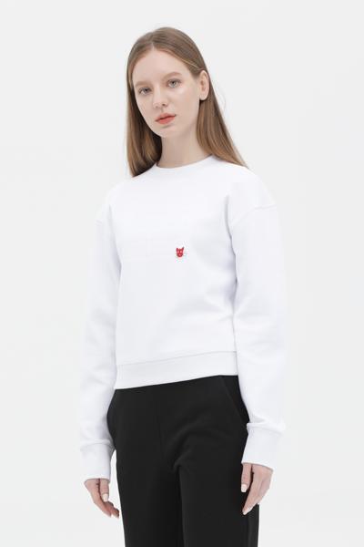 면혼방 레터링 크롭 맨투맨 티셔츠