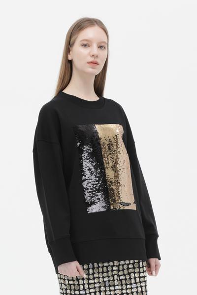 면혼방 스퀘어 스팽글 크루넥 맨투맨 티셔츠