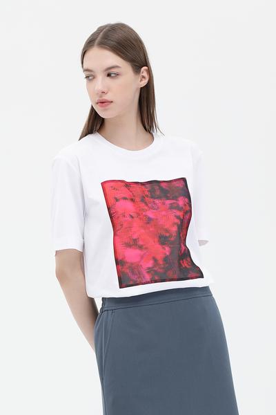 면 그래픽 반소매 티셔츠