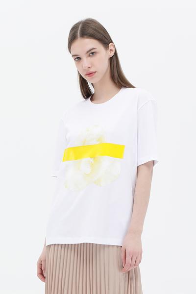 면 로고 플로럴 그래픽 반소매 티셔츠