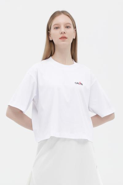면 오버핏 로고 티셔츠