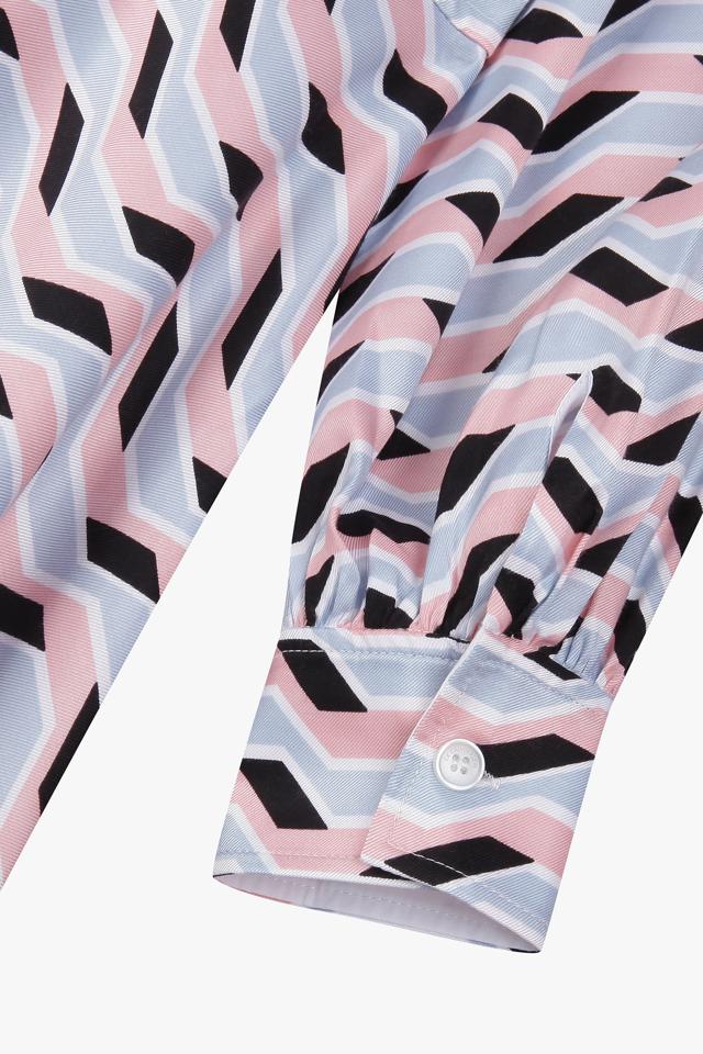 [여성] 그래픽 오픈 카라 셔츠 원피스