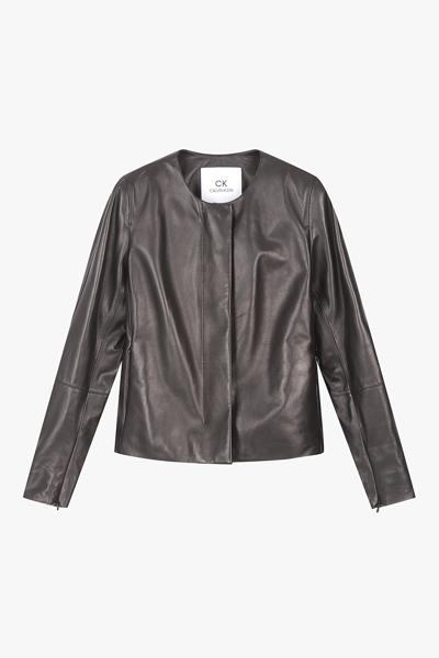 [여성] 양가죽 슬림핏 노카라 숏 자켓