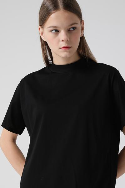 [여성] 면 솔리드 밴드넥 반소매 티셔츠