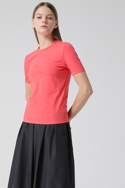 [여성] 면혼방 로고 엠브로이드 숏 반소매 탑
