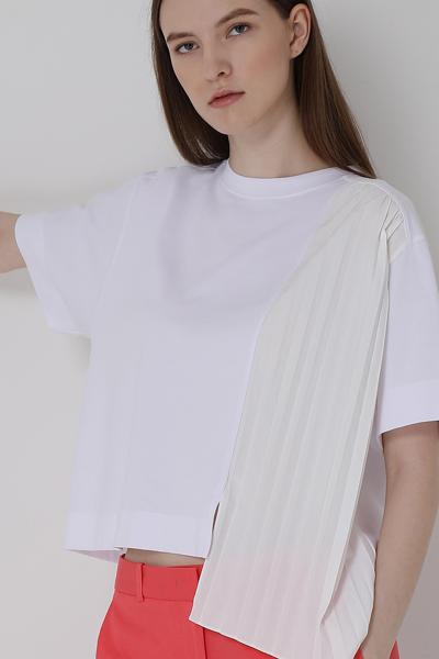[여성] 면 혼방 오버핏 반팔 솔리드 티셔츠