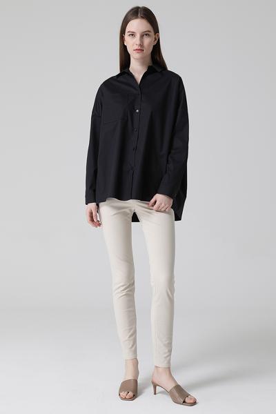 [여성] 면 혼방 오버핏 포켓 셔츠 블라우스