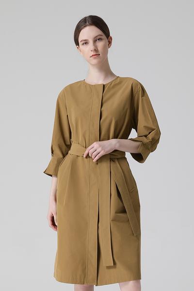 [여성] 면혼방 루즈핏 벨티드 셔츠 원피스